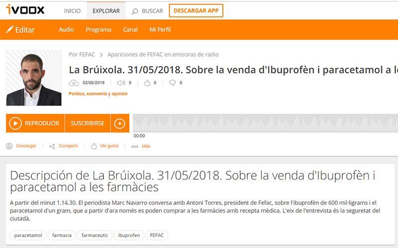 Entrevista a Antoni Torres a La Brúixola d'Onda Cero sobre la venda d'ibuprofèn amb recepta mèdica.