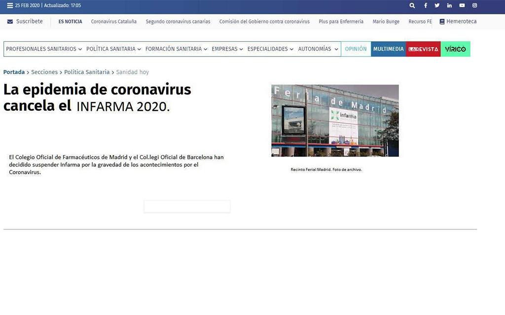 Infarma Madrid 2020 desmenteix la seva cancel·lació