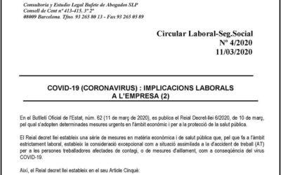 Coronavirus: Implicacions laborals en l'empresa II