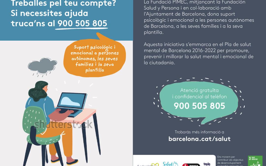 Telèfon de suport psicològic per a persones autònomes de Barcelona