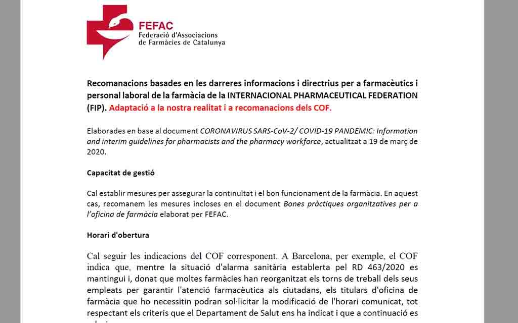 Recomanacions basades en les darreres informacions i directrius de la FIP per a farmacèutics i personal laboral de la farmàcia