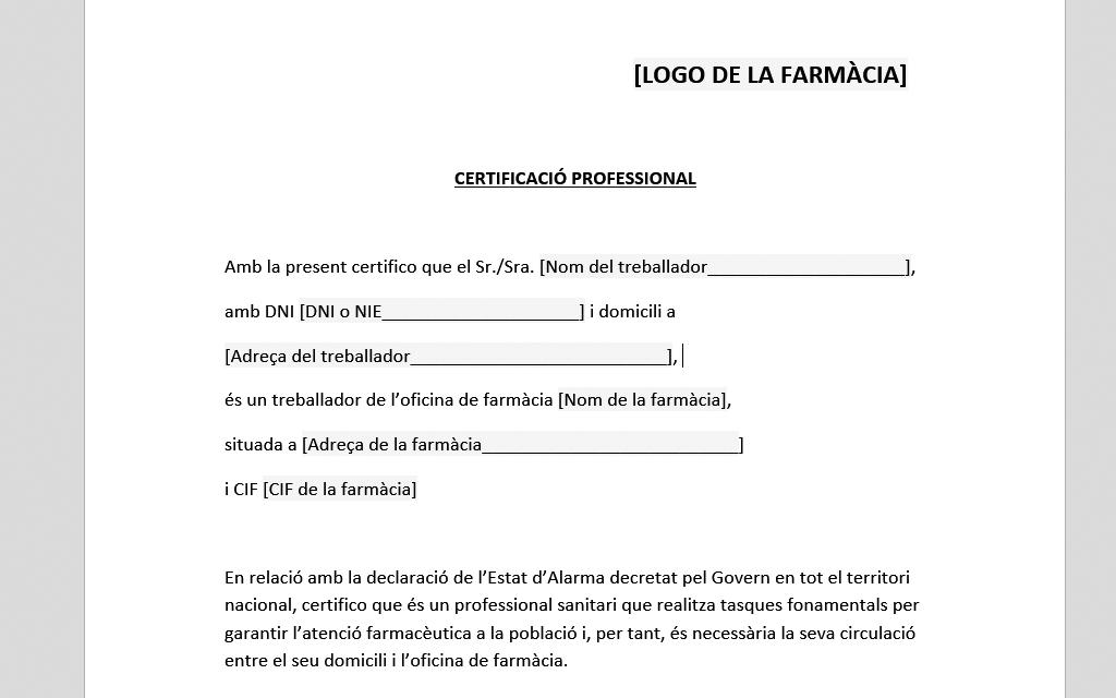 Certificat professional per al desplaçament de personal de les oficines de farmàcia entre el domicili i el lloc de treball