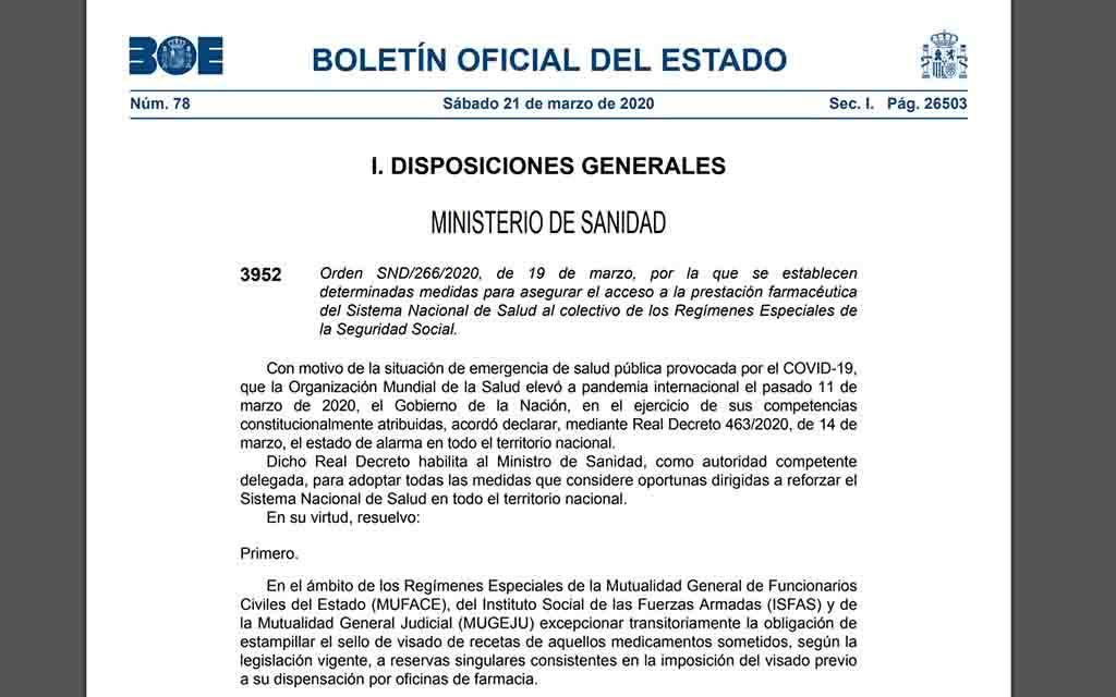 Ordre ministerial per assegurar l'accés a la prestació farmacèutica del SNS al col·lectiu dels règims especials de la Seguretat Social