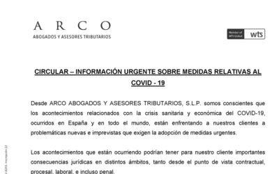 Circular – informació urgent sobre mesures relatives al Covid-19