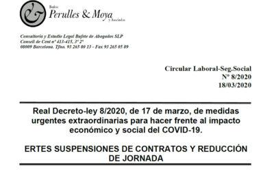 Circular laboral: Ertes, suspensions de contractes i reducció de jornada