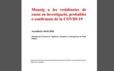 Salut i Afers Socials recomanen no visitar residències si es té febre o s'ha estat en zones de risc per coronavirus