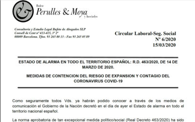 Circular laboral: estat d'alarma en tot el territori espanyol. Mesures de contenció del risc d'expansió i contagi del Coronavirus Covid-19