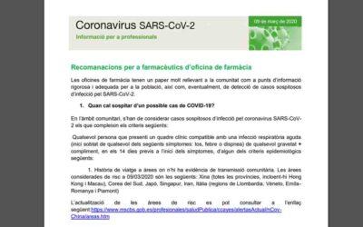 Coronavirus: Salut publica recomanacions per a farmacèutics d'oficina de farmàcia