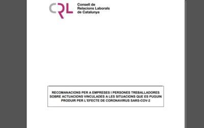 Coronavirus: El Consell de Relacions Laborals publica recomanacions per a empreses i persones treballadores