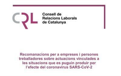 El Consell de Relacions Laborals publica recomanacions per a empreses i persones treballadores (12 d'abril)