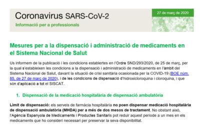 Mesures per a la dispensació i administració de medicaments en el Sistema Nacional de Salut