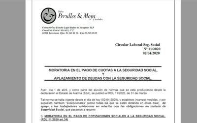 Circular laboral: Moratòria en el pagament de quotes a la seguretat social i ajornament de deutes amb la seguretat social