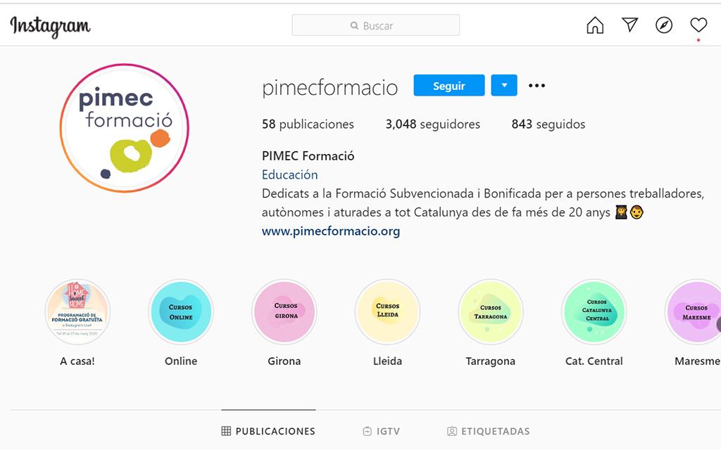 Sessions formatives de PIMEC a Instagram Live