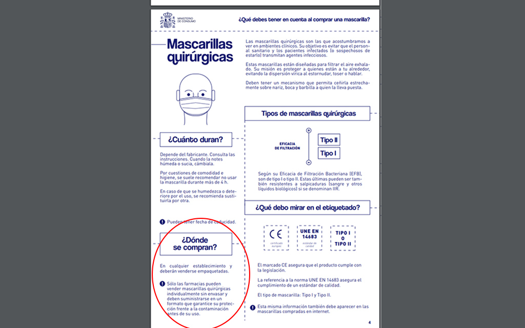 Carta de FEFAC al Ministeri de Consum sobre un error publicat la guia '¿Qué debes tener en cuenta a la hora de comprar una mascarilla?'