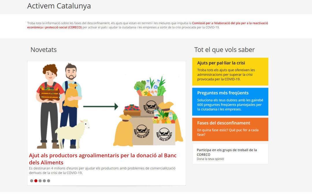 Activem Catalunya, un nou espai web per a ciutadans i empreses