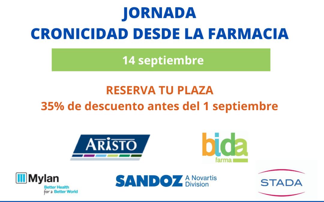 Jornada online de Gestió de la Cronicitat desde la farmàcia. 14 de setembre de 9.30 a 16.30 h.