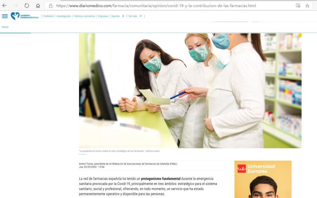 Tribuna en Correo Farmacéutico, sobre farmacias y Covid-19