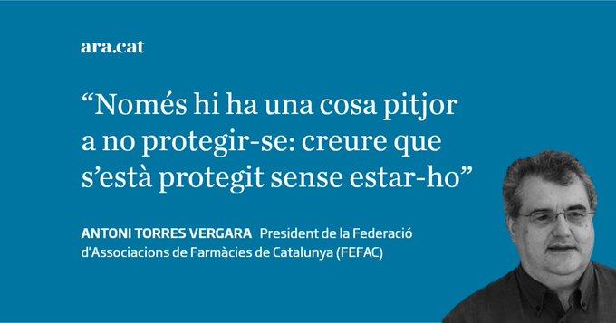 """""""Uso de mascarillas y geles con garantías"""". Artículo de Antoni Torres, presidente de FEFAC, publicado en Diari Ara"""