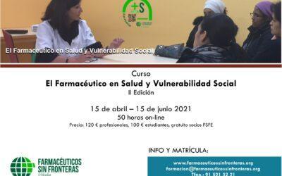 """Curso online """"El farmacéutico en salud y vulnerabilidad social"""""""