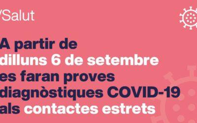 Salut reprèn progressivament a partir del 6 de setembre les proves als contactes estrets d'un positiu COVID-19